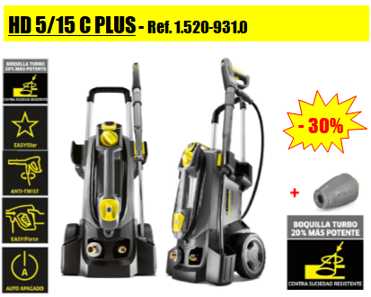 Oferta 30% de descuento en Karcher HD 5/15 C Plus + Boquilla Turbo